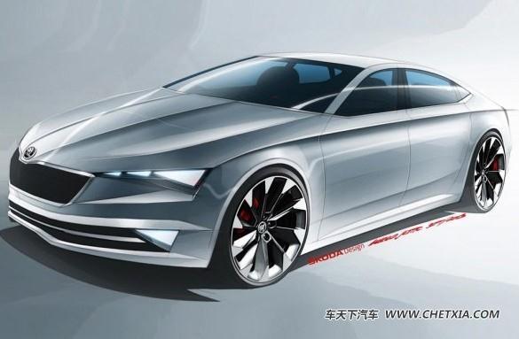 斯柯达推visionc概念车手绘图 将于3月日内瓦车展首发